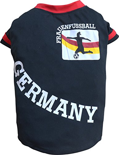 Doggy Dolly WM2015B - Camiseta de fútbol para Mujer, Talla L, Color Negro