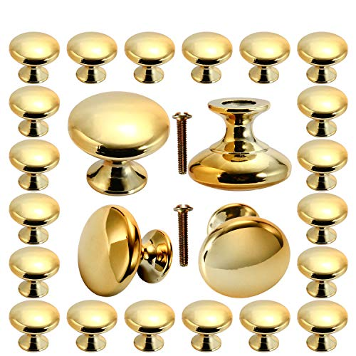 Cabinet knobs 30 Pack, POZEAN Gold Knobs Brushed Brass with Screws for Dresser Drawer Cabinet Cupboard, Perfect Kitchen Cabinet Hardware for Your Home, Kitchen, Bathroom, Living-Room, Bedroom