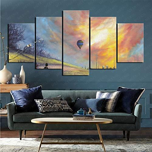 mmkow Impresión en Lienzo 5 Piezas de Foto de Artista Decoración del hogar Decoración 100x200cm (Marco)