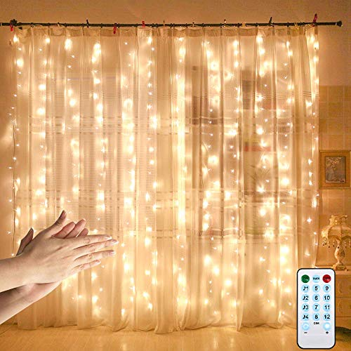 Curtain Lights with Sound Activated,USB Powered 300 LED Fairy Lights with Remote,Sync-to-Music Setting & 8 Mode Hanging Light for Thanksgiving Bedroom Christmas Decorations (Warm)