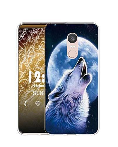Sunrive Kompatibel mit ZTE Nubia Z11 Max Hülle Silikon, Transparent Handyhülle Schutzhülle Etui Hülle (Q Wolf 2)+Gratis Universal Eingabestift MEHRWEG