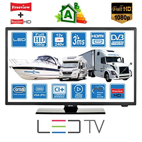 MOTORHOME CARAVAN BOAT 12V 22' Inch FHD LED Digital Freeview & Freesat TV 12 Volt USB PVR by...
