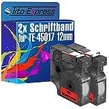 Tito-Express Platinum Serie 2 Casetes de cinta compatibile con Dymo D1 45017 12mm Labelmanager 100 100 Plus 120 P 150 160 200 210 D 220 P 260 P 280 300 350 D 360 D 400 420 P 450 D 500 TS