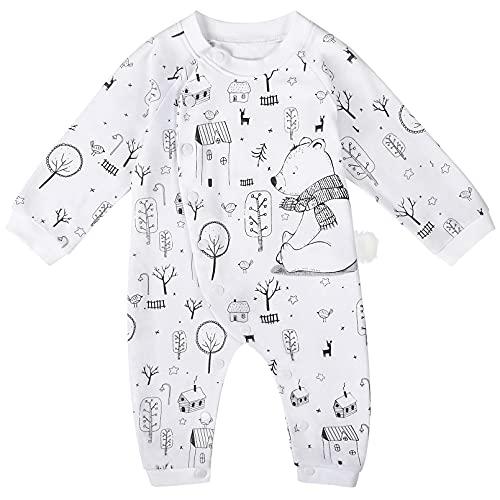 Yoofoss Pigiama Bambino Unisex Pagliaccetto in Cotone Ragazzi Body a manica lung Neonato Tutina Fumetto Tutine Pigiami Outfits 3-6 mesi