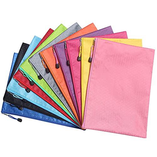 Bolsas de tela impermeable con cierre de cremallera, diferentes colores, organizador de almacenamiento de documentos, bolsa de almacenamiento para ordenar archivos para oficina, tareas escolares