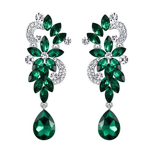 BriLove Silver-Tone Dangle Earrings Women's Wedding Bridal Bohemian Boho Crystal Flower Chandelier Teardrop Bling Earrings Emerald Color