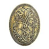 Toporchid Nordic Viking Wolf Muster Vintage Amulett Muster Brosche für Geschenk (Golden XZ087)