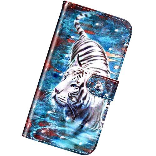 Urhause Custodia Compatibile con Nokia 6.1 2018 Cover KunyFond 3D Modello Flip Pelle Wallet Protettiva Creativo Slot per Schede Chiusura Magnetico Supporto Stand Funzione Case,Tigre