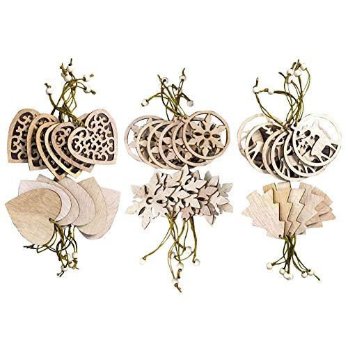 Ornements de Noël en bois,36 pièces Boule de Noël à suspendre DIY Puce de bois Pendentif Découpe Suspendus Artisanat en bois Embellissements avec 36 pièces Ficelles pour décoration de Noël Ornements