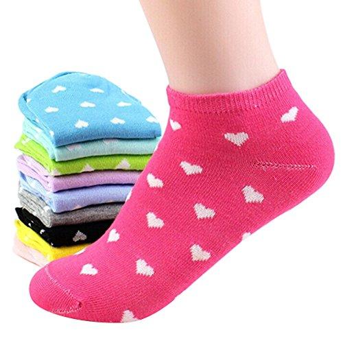 5 Pairs Random Color Womens Sport Cute Heart Ankle High Low Cut Cotton Socks