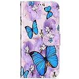 Funda compatible con el teléfono móvil Huawei P9 Lite Mini, funda de piel tipo libro con tarjetero y diseño de flores moradas y mariposas.