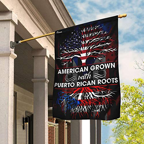 Flags-Puerto Rican American Flag DDH1673F, House Flag (29.5' x 39.5')-USA House Garden Flags Premium Polyester-Decorative Outdoor Flags