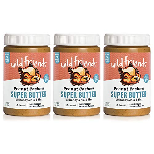 Wild Friends Foods , 16 Jars (3 Count), with Honey, Chia & Flax, Gluten Free, Palm Oil Free, 1 Pound (Pack of 3) Peanut Cashew Super Butter ,48 Ounce