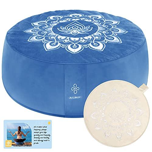 OVERMONT Cojín de Yoga Zen Meditación Redondo 41x13cm Relleno de Alforfón, Zafu Cojín de Piso con 3 Fundas de Terciopelo y Lona y con Asa