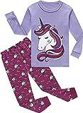 JINBAOYA Pijamas para niños, Unicornio Pijamas Set Little Girls 2 Pedazos Ropa de Manga Larga Ropa de Dormir camisón Ropa Niños Inicio