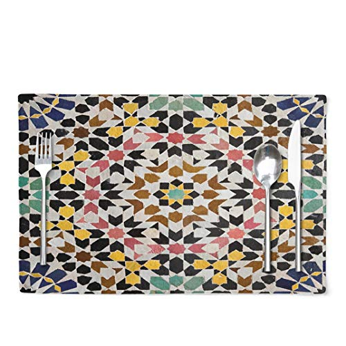Ansote Moroccan Placemats, Moroccan Tile Stone Work Islamic Mosaic Morocco Art 12x18 Inch Set of 4 Placemats Heat Resistant Dining Table Place Mats Kitchen,Linen Non Slip for KidsMoroccan Tile Amp