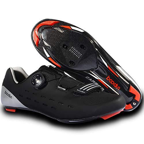 Zapatillas Bicicleta Carretera, Calzado de Ciclismo para Hombre,Calzado de Bicicleta de Carretera para Mujer con Tacos SPD Calzado de Pelotón Al Aire Libre Transpirable para Interiores,Black-40
