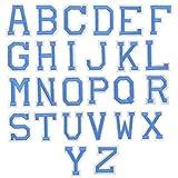26Pcs Azul Letra Parches Termoadhesivos, A-Z Alfabeto Apliques de Costura Bordado Tela Parches, Hierro Coser en Parche de Planchar, Carta Parches Adhesiva para Bolsa Ropa Reparación Decorativa