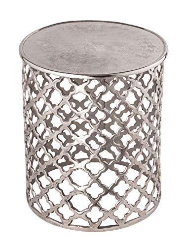 Dekotisch Metall Beistelltisch ø 40 x 45 cm rund Kairo Silber o. Gold Aluminium Orientalisch Farbe Silber