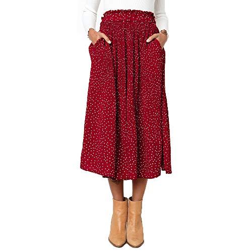 Exlura Womens High Waist Polka Dot Pleated Skirt Midi Swing Skirt with Pockets Red Small