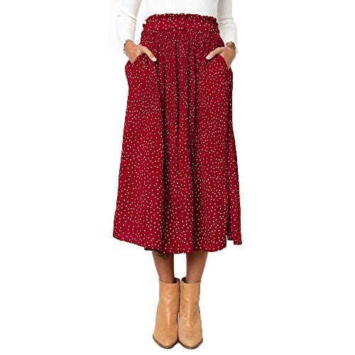 Exlura Womens High Waist Polka Dot Pleated Skirt Midi Swing Skirt with Pockets Red Large