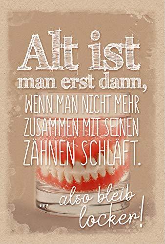 KE - lustige Geburtstagskarte - Geburtstagskarte für Männer - Geburtstag Karte mit Innendruck - im Format DIN B6 176 x 125 mm - Klappkarte inkl. Umschlag - Motiv: Gebiss
