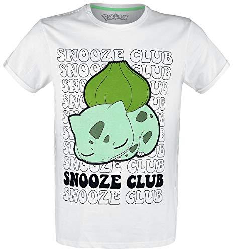Pokémon Bulbizarre - Snooze Club Homme T-Shirt Manches Courtes Blanc S