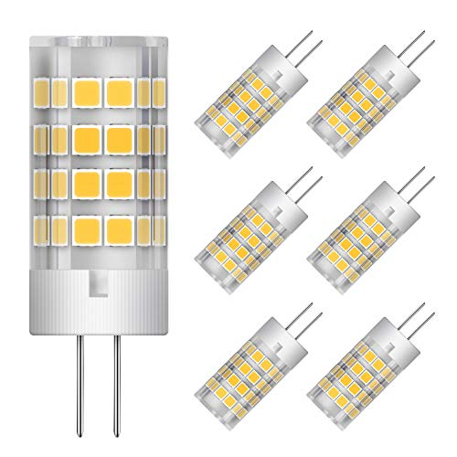 G4 LED Bulbs 5W Equivalent to 40W Halogen Light Bulb, AC/DC 12V, T3 JC Type Bi-Pin Base, Warm White 3000K, Energy Saving & Longer Life, Non-dimmable (6 Pack)