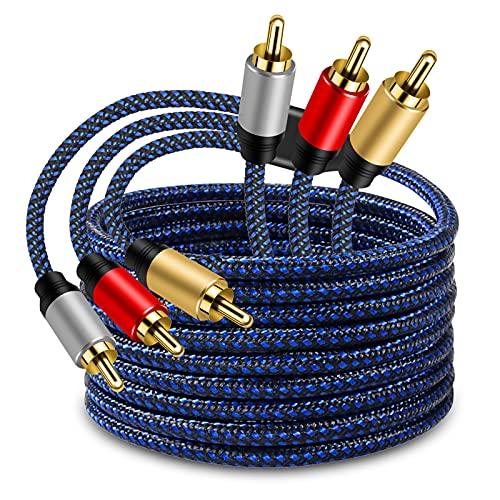 LSYTASG Cavo Da 3 RCA a 3RCA 4M, 3RCA Maschio A 3RCA Maschio Cavo Nylon Audio Stereo Placcato in Oro, Video Component connettori dei Cavi per Dvd Players, Camcorder, Projector, Game Console, ECC