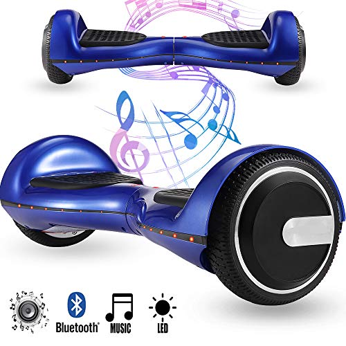 Magic Vida 6.5´´ Patinete Eléctrico Bluetooth Scooter Monopatín LED Atractivo(Azul Camuflaje)