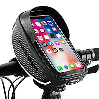 ROCKBROS Bike Phone Mount Bag Bike Front Frame Handlebar Bag Waterproof Bike Phone Holder Case Bicycle Accessories Pouch Sensitive Touch Screen Compatible with iPhone 11 XS Max XR 8 Plus Below 6.5