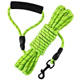 Vivifying Dog Check Cord, 20FT/6M Floatable Long Reflective Recall Dog Training Rope with Soft Handle for Hiking, Camping, Walking (Green)