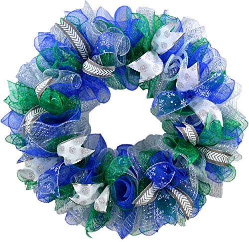 Winter Wreath - Hanukkah Decorations - Front Door Decor for After Christmas Blue Green White Silver