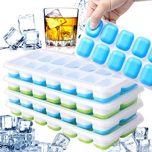 Ventdest Cubitera Hielo, 4 Pcs Moldes para Cubitos de Hielo, Molde Silicona Sin BPA, Bandeja Hielo con Tapa para Congelarse Alimentos para Bebés, Cola, Cócteles, Whisky