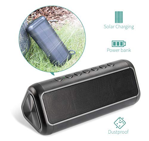 Solar Bluetooth Speaker with 5000mAh Protable Power Bank, Elzle Bluetooth Portable Speake 50+ Hours Playtime Stereo Paring 12W Subwoofer, IPX6 Waterproof Portable Wireless Speaker for Outdoor & Indoor