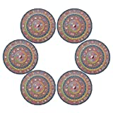 senya Astrological Fortune Wheel Round Place mats for Kitchen Dining Table Runner Heat Insulation Non-Slip Washable Fall Placemats Set of 6(805r)