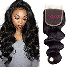 Brazilian Virgin Human Hair Body Wave Lace Closure Free Part 4X4 Unprocessed Natural Color 22 inch