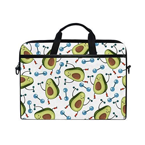 JOYPRINT Laptop Sleeve Case, Cute Avocado Funny Fruit Pattern 14-14.5 inch Briefcase Messenger Notebook Computer Bag with Shoulder Strap Handle for Men Women Boy Girls