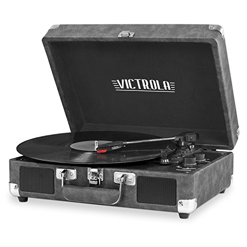 Victrola Vintage 3-Speed Bluetooth Portable Suitcase Record Player with Built-in Speakers | Upgraded Turntable Audio Sound| Includes Extra Stylus | Gray, 1SFA (VSC-550BT-GRY)
