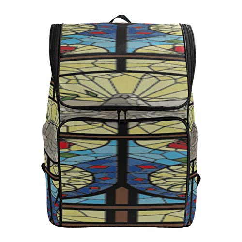 Rosette Stained Glass Window Tote Bag For College Food Bag For Hiking College Bags Women Casual Everyday Bag Fits 15.6 Inch Laptop And Notebook Daypack For Women Best College Bags