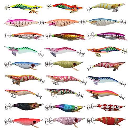 LSHEL Lumineuse Turlutte Leurre pour la Pêche Calmar Jig Artificielles Pêche Pieuvre, Seiches et Calamar, 27Pcs