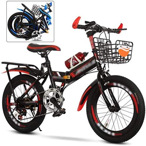 HongLianRiven BMX Mountain Bike Bambini 20-22 Pollici, Bambini Giovani Velocità Variabile, Mountain Bike Pieghevole Unisex 6-Speed Zoom MTB, Età 9+ 7-4 (Colore: Rosso, Taglia : 62'')