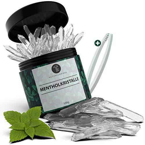 Naturschmiede® Premium Mentholkristalle für die Sauna 100g [Pharmaz.-Qualität] - Menthol Sauna Kristalle mit Eis Effekt - Eukalyptus Sauna Aufguss - Eiskristalle als Sauna Zubehör zum Inhalieren