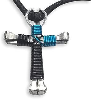 2-Tone Horseshoe Nail Cross Necklace