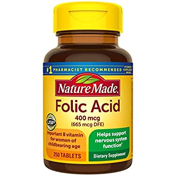 Nature Made Folic Acid 400 mcg  665 mcg DFE  Tablets 250 Count  Pack of 3