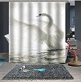 GjbCDWGLA Kleiner Frischer Weißer Schwan Duschvorhang, Formwiderstandsfähig Waschbare Duschvorhänge Mit Haken Badezimmerdusche 180 * 180 cm