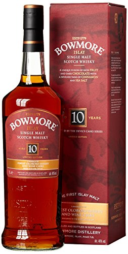 Bowmore 10 Years Old Devil's Casks Inspired Limited Edition Whisky mit Geschenkverpackung (1 x 1 l), 15333