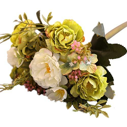 Beiguoxia réaliste Superbe Fleur artificielle 1 Bouquet 10 têtes artificielle Pivoine Fleur en soie Home Décoration de fête de mariage – Blanc Green