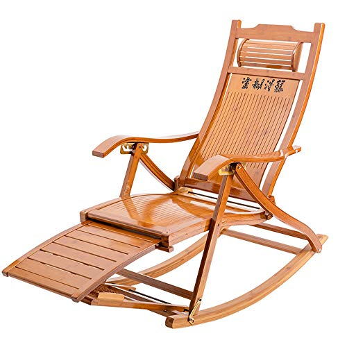 FUFU Deckchairs 3-in-1 Hölzerne Schaukelstühle/Adirondack-Stuhl Faltbar mit 6-Position einstellbar Sun-Liege-Stühle & -zieher im Freien-Falten-Rocker aus Bambus, mit Armlehnenfußmassagekissen, tragb
