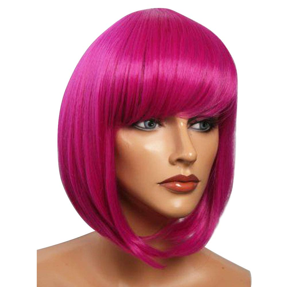 Short Bob Hair Wigs with Bangs Max 54% Spring new work OFF Straight Pink 12